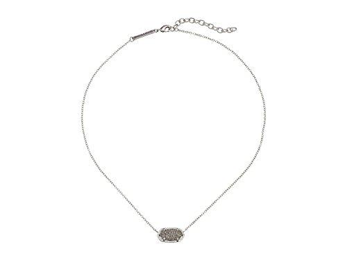(Kendra Scott Women's Elisa Pendant Necklace Rhodium/Platinum Drusy Necklace)
