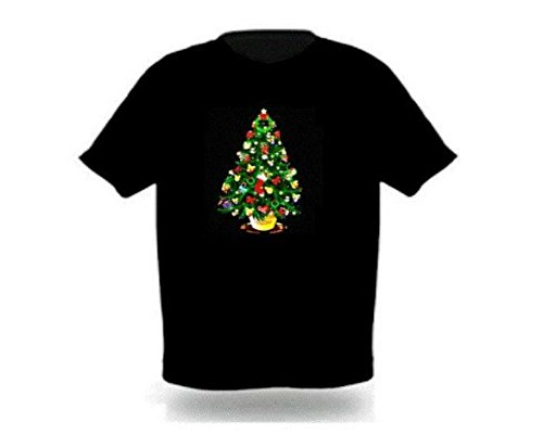 Stylish Sound Activated LED Christmas Tree T-shirt Size Xl