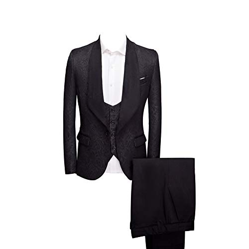 Btaidi Shawl Lapel Man Suit Groom Wedding Men's Blazer Groomsmen Suits 3 Pieces Jacket Vest Pants Tie Black