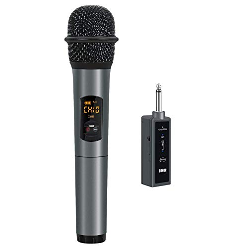 Wireless Microphone UHF Handheld Mic with Bluetooth Receiver 1/4 Output for Conference/Weddings/Church/Stage/Party/Karaoke, 80ft