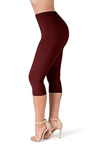 (SATINA High Waisted Ultra Soft Capris Leggings - 20 Colors - Reg & Plus Size (Plus Size, Burgundy))