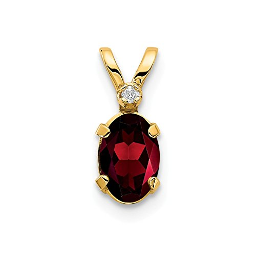 14k Yellow Gold Diamond Red Garnet Birthstone Pendant Charm Necklace January Oval Fine Jewelry For Women Gift Set