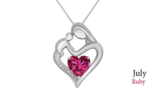 Diamond & Ruby Necklace (Jewel Zone US Simulated Ruby & White Natural Diamond Accent Mother & Child Heart Pendant in 14k White Gold Over Sterling Silver (11/10 Cttw))
