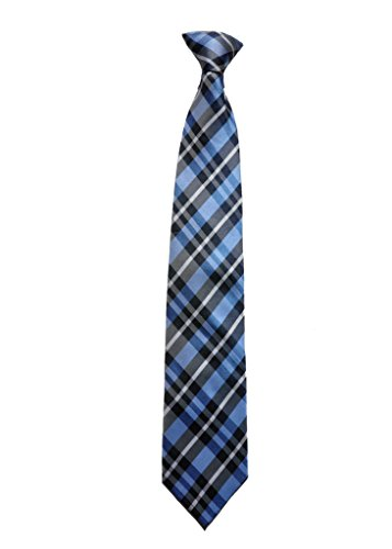Covona Men's Blue, Black and Grey/Checkered Tie (Clip-on) (Tie Covona)
