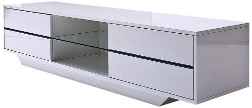 Robas Lund 59075W14 Blues Media TV Lowboard, Klarglasboden, RGB LED Wechselbeleuchtung mit Fernbedienung, 4 Schubkästen, 2 Fächer, 160 x 40 x 36 cm, MDF Hochglanz weiß lackiert
