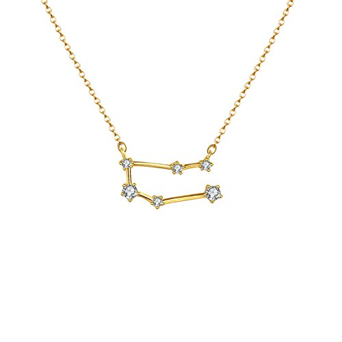 OSIANA Constellation Necklace 14K Gold Plated Pendant Dainty Horoscope Sign Zodiac Model Choker Personalized Birthday Gift for Women Horoscope Gemini Zodiac Sign