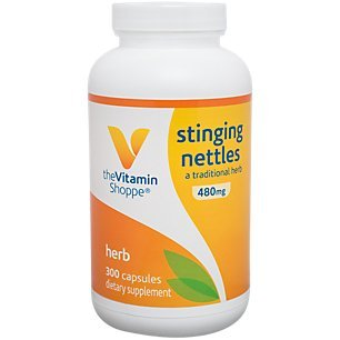 The Vitamin Shoppe Stinging Nettles 480MG Urtica Dioica Leaf , A Traditional Herb, Seasonal Support 300 Capsules