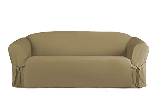 (Linen Store Microsuede Slipcover Furniture Protector Cover, Taupe,)
