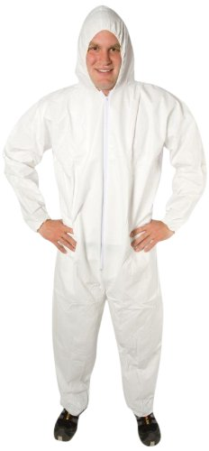 Safety Zone DCWH-MD-BB-HEWA White Polypropylene Disposable Coverall with Hood, Medium by The Safety Zone