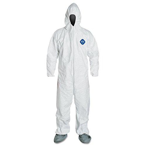 Attached Hood Boots - Dupont TY122S-M Tyvek Coveralls with Attached Hood and Boots, Medium, White (Pack of 25)