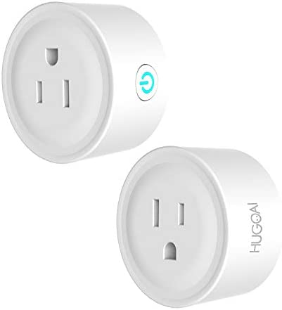 HUGOAI Smart Plug, WiFi Smart Outlet, Works with Alexa, Google Home IFTTT, No Hub Required, ETL Listed, Remote Control Smart Home Devices, Smart Socket Only 2.4GHz WiFi 2 Pieces