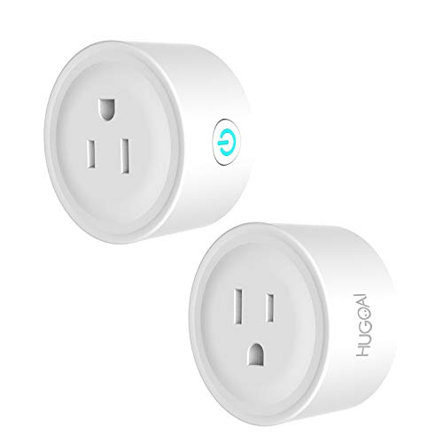 HUGOAI WiFi Smart Outlet, Mini Smart Plug 2 Pack, Works Alexa,Google Home/IFTTT, APP Remote Control from Anywhere, No Hub Required, WiFi Enabled Voice Control Smart Socket