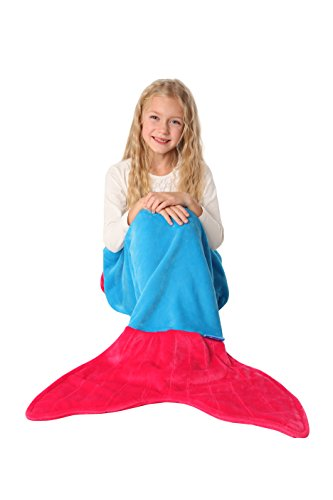 [ENFY Mermaid Tail Blanket - Super Soft and Warm Minky Fabric Blanket Perfect Gift for Girls Ages 3-12 (Ocean Blue & Hot] (Grady Twins Costume)