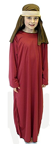 Nativity-Bible-World Book Day Budget Burgundy Shepherd/Joseph Fancy Dress Costume – All Ages (Age 9-10)