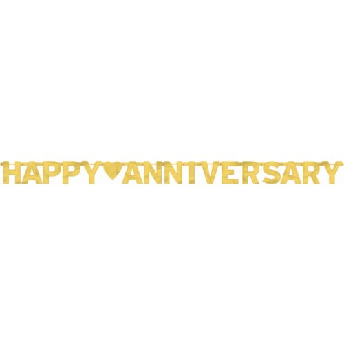 (Happy Anniversary Gold - Large Foil Letter Banner)