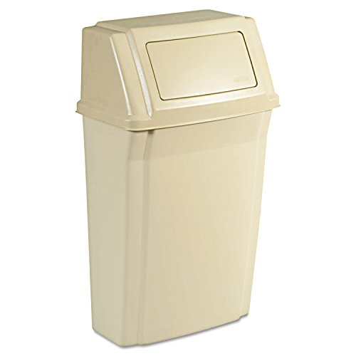 (Rubbermaid Commercial RCP 7822 BEI Slim Jim Wall-Mounted Container, Rectangular, Plastic, 15 gal, Beige )
