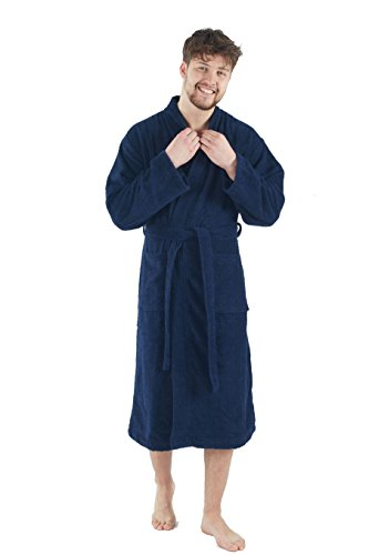 Bagno Milano Mens Terry Robe – 100% Pure Turkish Cotton – Kimono Style Bathrobe, Made in Turkey, Navy M-L by Bagno Milano