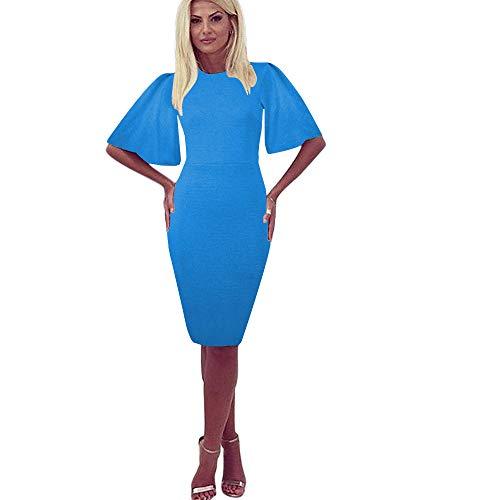 Zshujun Women's Vintage Scoop Neck Flare Sleeve Midi Work Sheath Party Cocktail Dress 1189 (Blue 1, XXL)