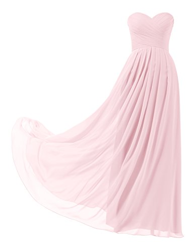- Topwedding Remedios A-Line Chiffon Bridesmaid Dress Strapless Long Prom Evening Gown, 12 Shell Pink,US10