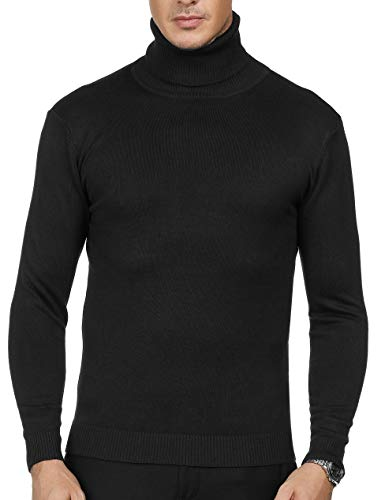 - PAUL JONES Men's Slim Fit Casual Long Sleeve Turtleneck Pullover Sweater L Black