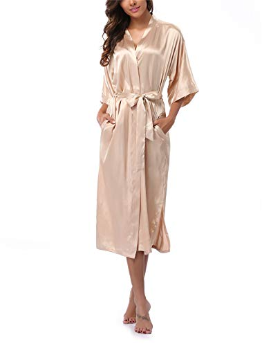 VOGTORY Women's Satin Robes Pure Color Long Kimono Bathrobes Soft Nightgown Gold (Champagne Long Satin)