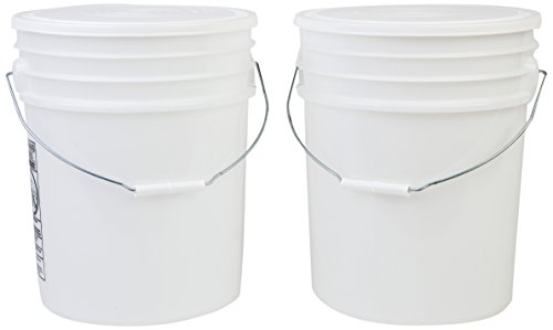 Hudson Exchange Premium 90 Mil HDPE Bucket with Handle and White Lid, 5 gal, Natural, 2 Pack