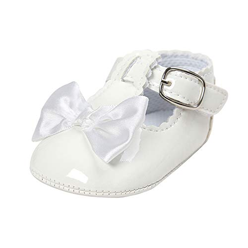 Infant Baby Girls Bowknot Rubber Sole Mary Jane Toddler Sneakers Prewalker Wedding Dress Shoes White, 12-18 Months