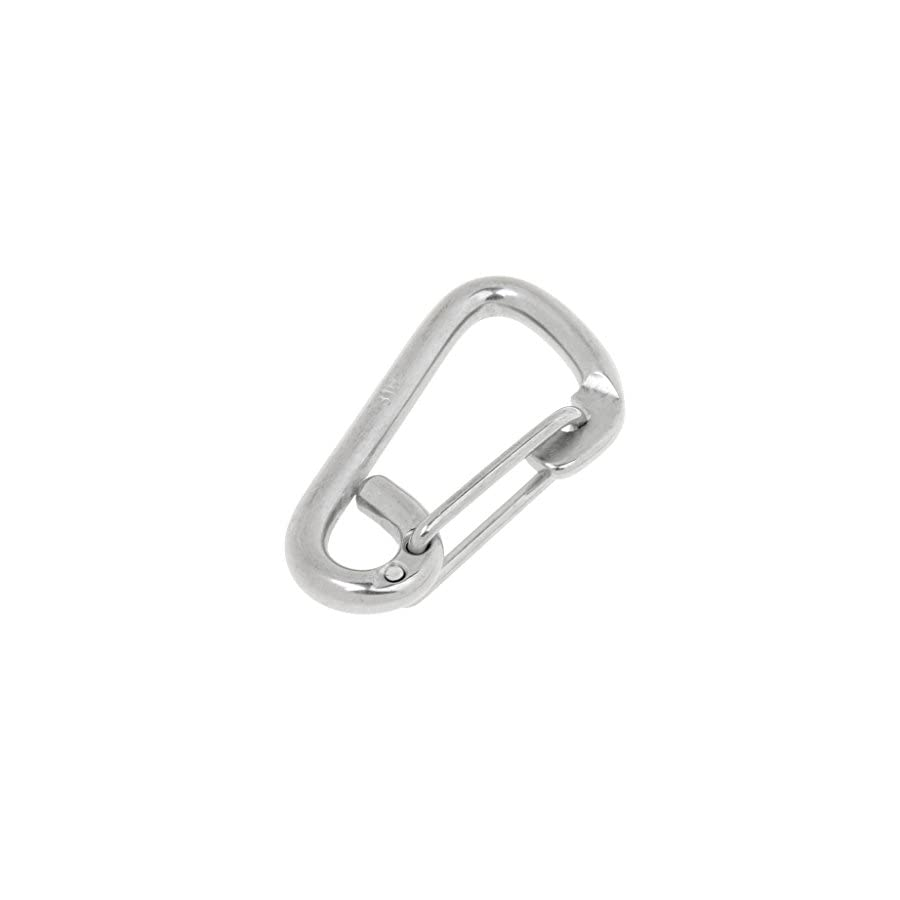 MagiDeal 304 Stainless Steel Snap Hook Secure Carabiner Spring Clip Boat Trailer with Rope Holder for Climbing Kayaking