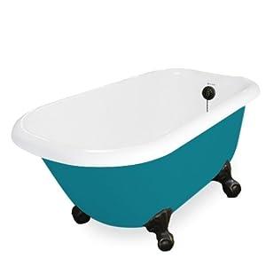 American Bath Factory T050A-OB-P & DM-7 Trinity 60 in. Splash Of Color Acrastone Tub & Drain44; Old World Bronze Metal Finish44; Small durable modeling