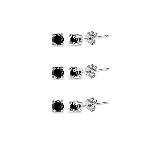 Round Cubic Zirconia Set (Sterling Silver Black Cubic Zirconia set of 3 Round 2mm Stud Earrings)