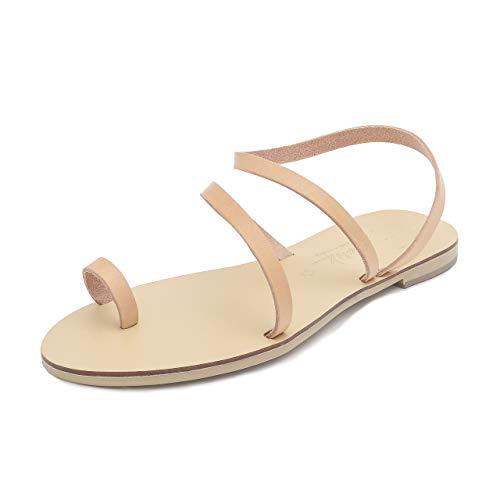 Zapatos Verano De Gladiador Natural A Sandalias Planos Cuero Mujer Bohemia Hekate Schmick Hechos Mano qxtFFX