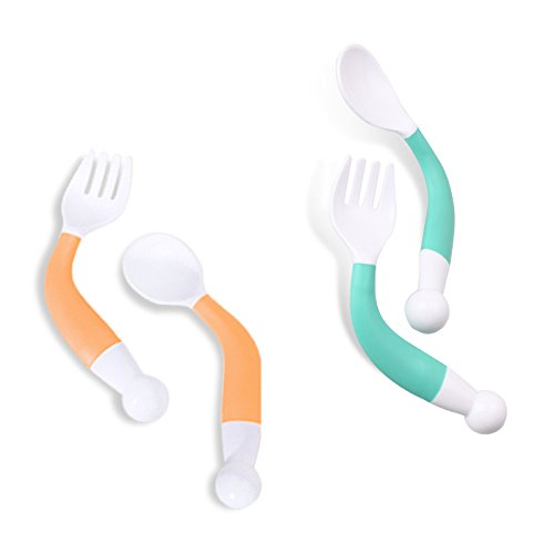 Baby Feeding Spoon Fork Set Utensil Curved Handle Training, BPA free Kids Tableware Flatware in Assorted Colors (2pcs in Green and Orange)