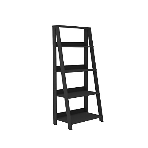 "WE Furniture 55"" Wood Ladder Bookshelf - Black"