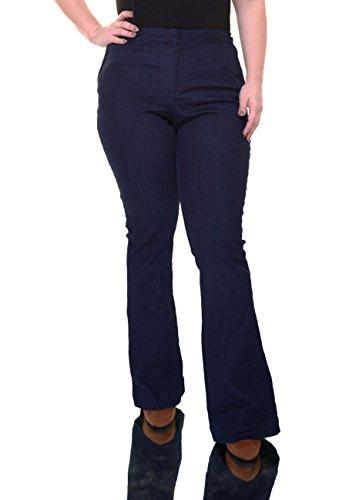 Maison Jules Womens Dark Wash Mid-Rise Flare Jeans Blue - Flare Dark Wash