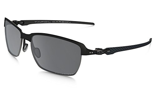 Oakley Men's Tinfoil Carbon Polarized Iridium Rectangular Sunglasses, Satin Black, 58 mm