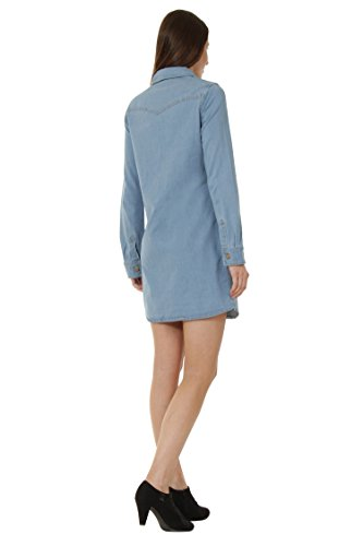 Gina Vorn Jeanskleid Club Denim Damen Knöpfe mit Frauen Jeanskleid Sommerkleid 1zIwHqw