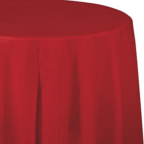 Creative Converting Tissue Poly Table Covers Octy Round Paper Tablecloth, 3 Ply 82 Inch x 82 Inch For 60 Inch Round Tables - 3 Pack - Various Colors and Quantities (Classic Red, 3 - 3 Packs)