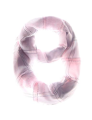 (MissShorthair Women's Light Weight Colorful Painting Plaid Tartan Infinity Scarf (63 black/white/grey))