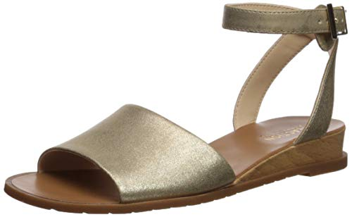 Kenneth Cole REACTION Women's Jolly Low Wedge Sandal with Ankle Strap Flat, Soft Gold 7.5 M US