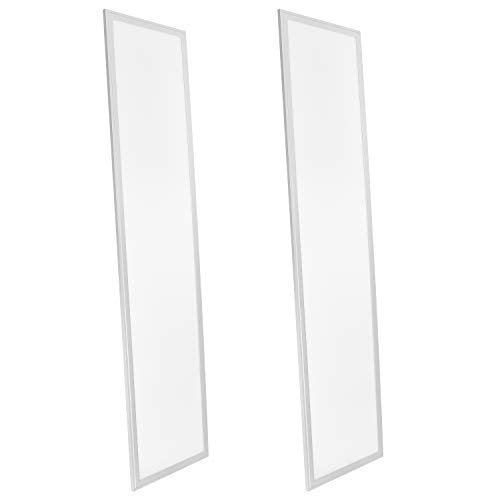 Luxrite LED Light Panel, 1x4 FT, 45W, 3500K Natural White, 4725 Lumens, 12x48 Inch LED Flat Panel, 0-10V Dimmable, DLC Listed, UL Listed, Pack of 2