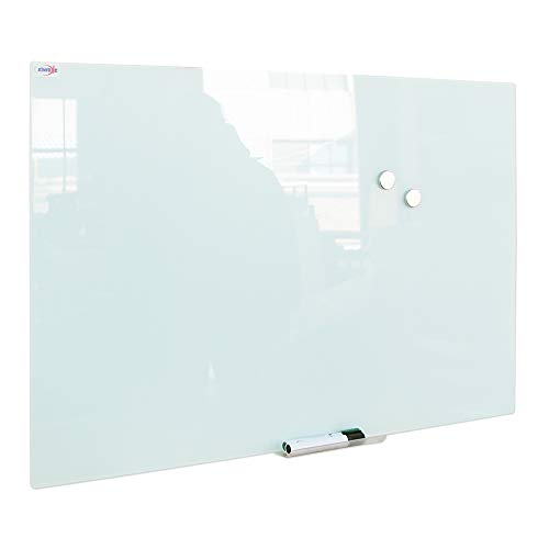 Magnetic Glass Whiteboard, Large Glass Dry Erase Board, Frameless Glass White Board for Wall with Marker Tray, Dry Erase Marker, Eraser and Two Magnets, 48 x 59 Inches (120cm x 150cm)