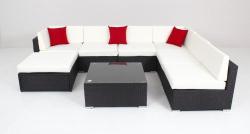 Deluxe Outdoor Patio Pe Rattan Wicker 8 Pc Sofa Sectional Furniture Set