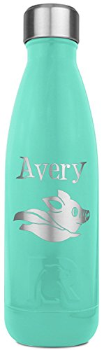 Flying Pigs RTIC Bottle - Teal - Engraved Front (Personalized)