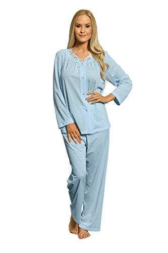 Shadowline Women's Petals Long Sleeve Pajama, Blue, 36
