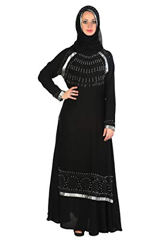 SOFIAS Women's Nida Fabric Hijab Set (FD-001, Black, XXL to XXXL)