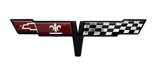 - Keen Parts C3 Corvette Gas Door Emblem Crossed Flags