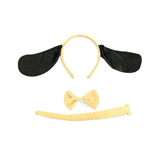 Marlegard 3PCs Funny Dalmatian Milk Leopard Costume Headband Ear with Tail Tie (Cream Dog) -