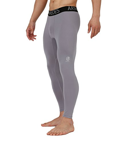 Price comparison product image 10STAR11 ARMEDES Men's Compression Premium Super Dry Work Out Performance Long Tights Gray,XL