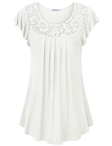 Youtalia Pleated Blouses for Women, Ladies Fashion Tunic Flutter Sleeve Flared Hem A Line Lightweight Elastic Loose Casual Tee Shirt Top White X-Large