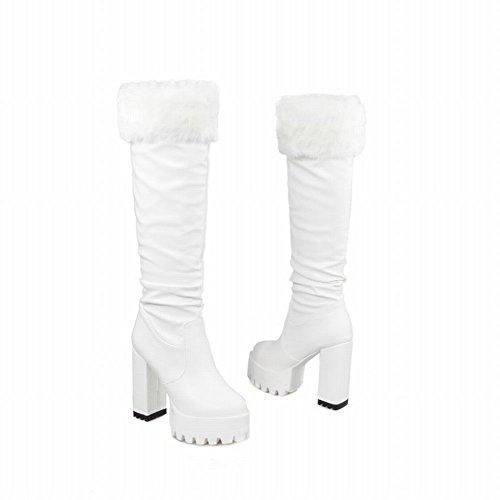 Latasa Mode Féminine Plissée Plate-forme Haut Talon Genou Haute Pull Sur Les Bottes Blanc